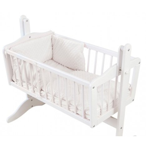 4baby Rocking Crib / Cradle Quilt & Bumper Set - Dimple White
