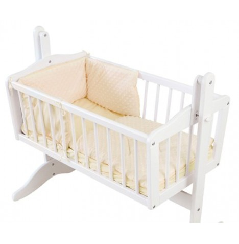 4baby Rocking Crib / Cradle Quilt & Bumper Set - Dimple Cream