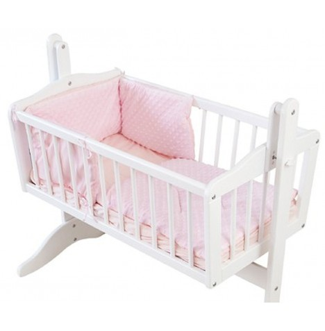 4baby Rocking Crib / Cradle Quilt & Bumper Set - Dimple Pink