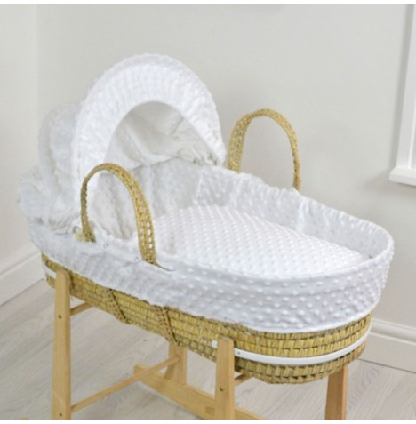 4baby Deluxe Palm Moses Basket - Dimple White