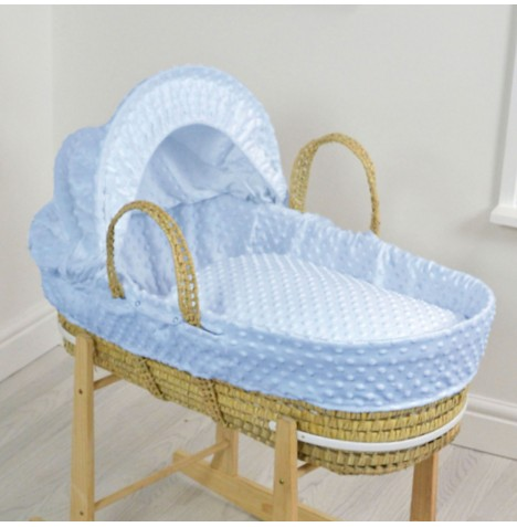 4baby Palm Moses Basket - Dimple Blue