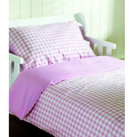 Saplings Junior Bed / Cot Bed 2 Piece Bedding Set - Pink Gingham