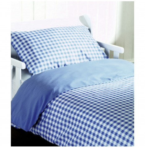 Saplings Junior Bed / Cot Bed 2 Piece Bedding Set - Blue Gingham