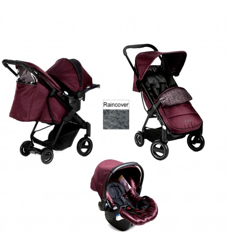 ICoo Acrobat Shop n Drive Travel System - Fishbone / Bordeaux