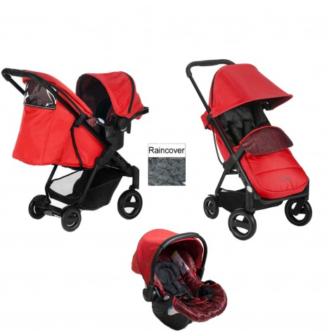 Hauck Icoo Acrobat Shop n Drive Travel System - Fishbone / Red
