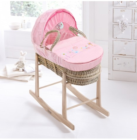 Clair De Lune Palm Moses Basket & Pine Rocking Stand - Bunny & Chick Pink