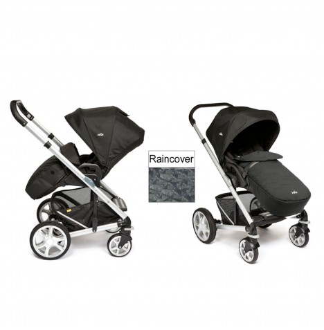 Joie Chrome Plus Silver Frame Pushchair (With Colour Pack) - Black Carbon