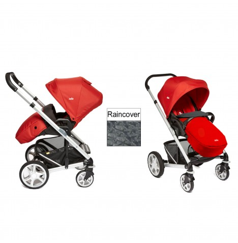 Joie Chrome Plus Silver Frame Pushchair (With Colour Pack) - Tomato Red