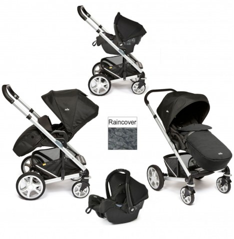 Joie Chrome Plus Silver Frame Travel System (With Colour Pack) - Black Carbon