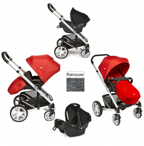 Joie Chrome Plus Silver Frame Travel System (With Colour Pack) - Tomato Red