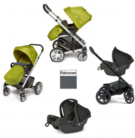 Joie Chrome Plus Silver Frame Gemm Travel System (With Colour Pack) - Green