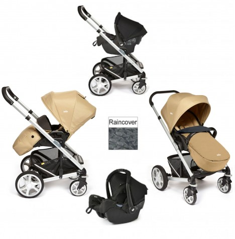 Joie Chrome Plus Silver Frame Travel System (With Colour Pack) - Sand