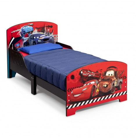 New delta children disney pixar cars wooden junior toddler for Starter bed