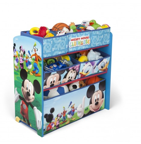Disney Mickey Mouse Wooden Multi Bin Toy Organiser