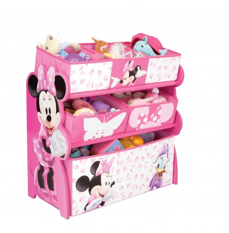 Delta Children Wooden Frame Multi-Bin Toy Organiser - Disney Minnie Mouse