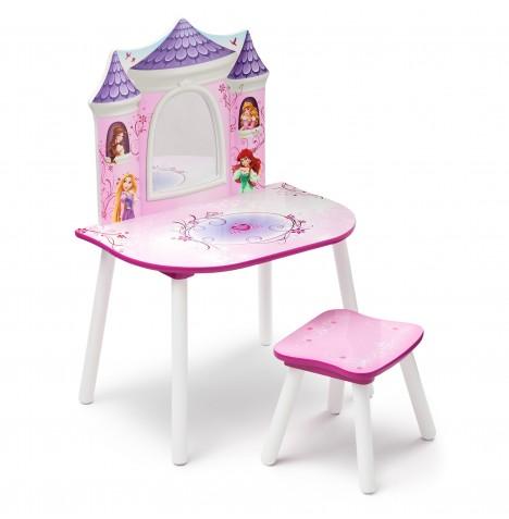 Girls Pink Princess Vanity Unit Dressing Table Set Princess Vanity ...