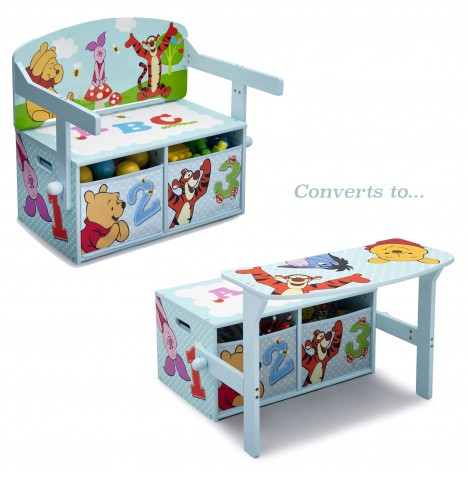 Delta Children 3in1 Convertible Bench / Desk - Disney Winnie The Pooh
