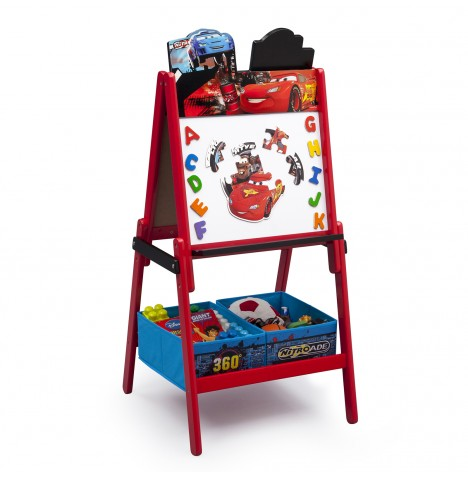 Delta Children Double Sided Wooden Art Easel With Storage - Disney Cars