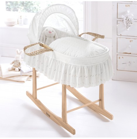 Clair De Lune Palm Moses Basket With Pine Stand - Broderie Anglaise White