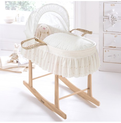 Clair De Lune Palm Moses Basket With Pine Stand - Broderie Anglaise Cream