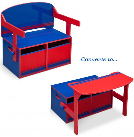 Delta Children 3in1 Convertible Bench / Desk - Blue / Red