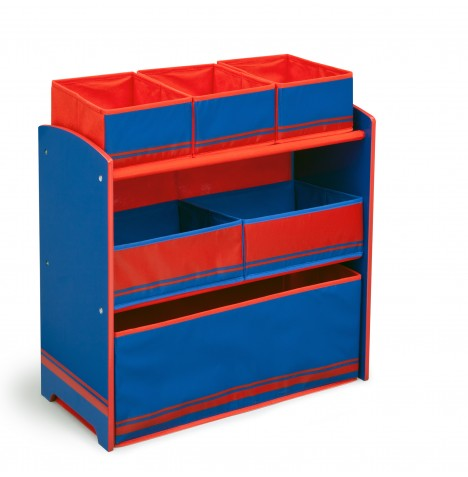 Delta Children Wooden Frame Multi-Bin Toy Organiser - Blue / Red