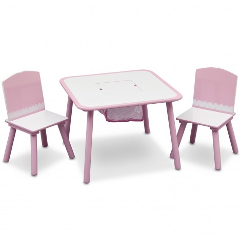 Delta Children Table & Chairs Set With Storage - Pink