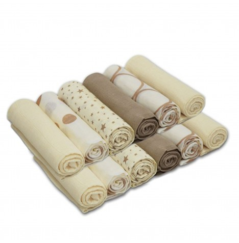 4baby Cotton Muslin Squares (12 Pack) Mixed Designs - Cream & Beige..