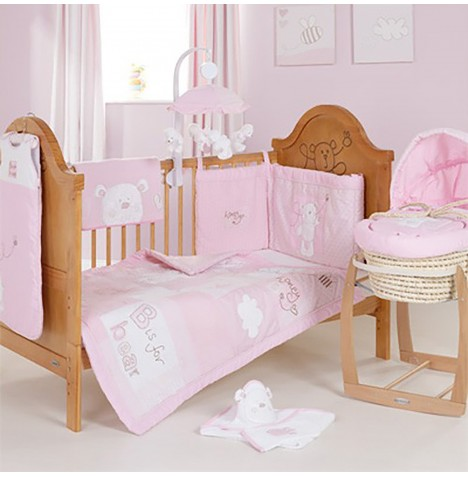 Obaby B Is For Bear Cot / Cot Bed Quilt & Bumper Set - Pink