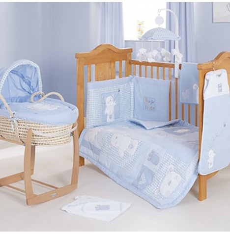 Obaby B Is For Bear Cot / Cot Bed Quilt & Bumper Set - Blue