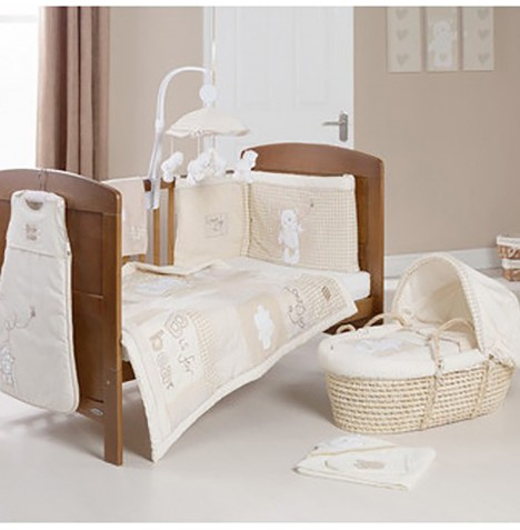 Obaby B Is For Bear Cot / Cot Bed Quilt & Bumper Set - Cream