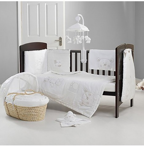 Obaby B Is For Bear Cot / Cot Bed Quilt & Bumper Set - White