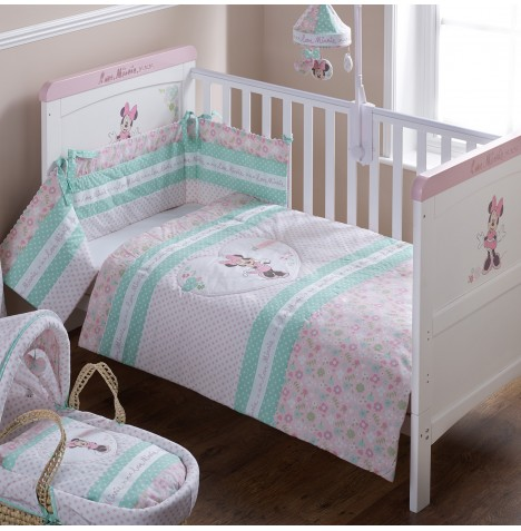 Obaby Disney Minnie Mouse Cot / Cot Bed Quilt & Bumper Set - Pink