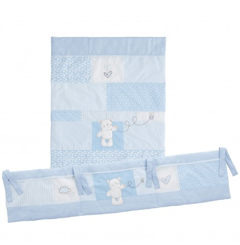 Obaby B Is For Bear 3 Piece Crib Bedding Set - Blue