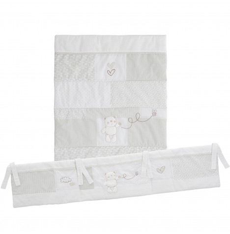 Obaby B Is For Bear 3 Piece Crib Bedding Set - White