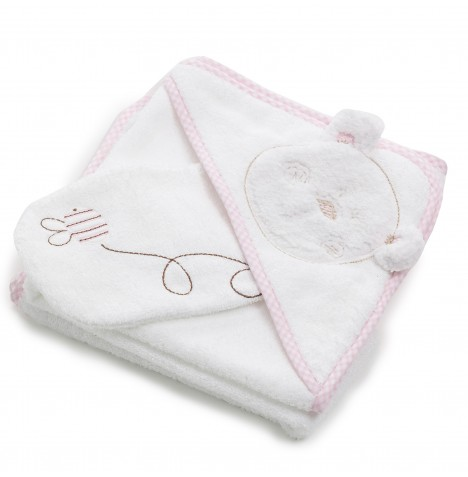 Obaby B Is For Bear Hooded Towel & Washmitt - Pink