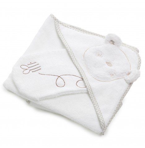 Obaby B Is For Bear Hooded Towel & Washmitt - White