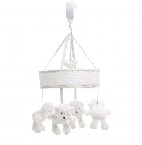 Obaby B Is For Bear Musical Cot / Cot Bed Mobile - White