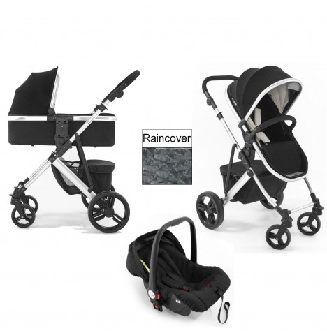 Tutti Bambini Riviera 3in1 Silver Travel System - Black / Cool Grey