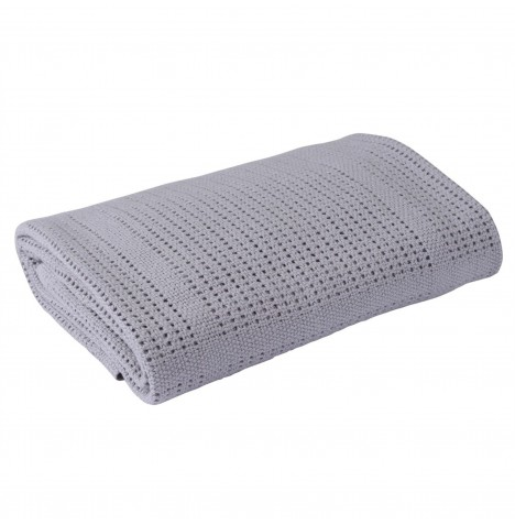 Clair De Lune Extra Soft Cotton Cellular Cot / Cot Bed Blanket - Grey