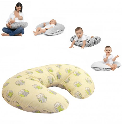 4baby 4 in 1 Nursing / Pregnancy Pillow / Cushion - Hoot Hoot Cream
