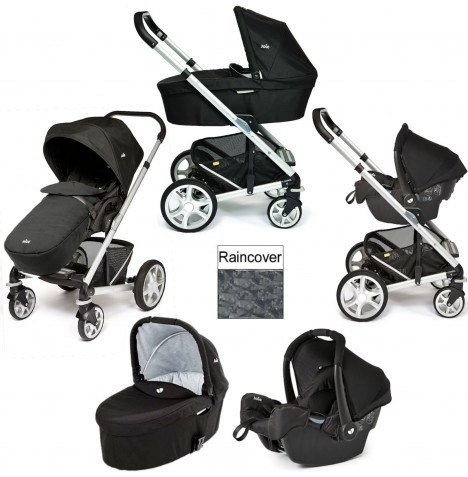 Joie Chrome Plus Silver Frame Gemm Travel System & Carrycot - Black Carbon