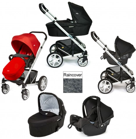 Joie Chrome Plus Silver Frame Gemm Travel System & Carrycot - Tomato Red