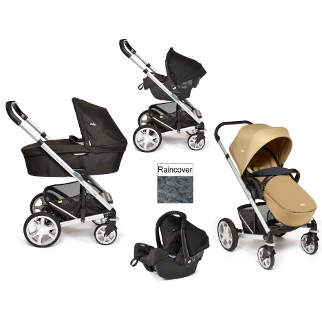 Joie Chrome Plus Silver Frame Travel System & Carrycot - Sand
