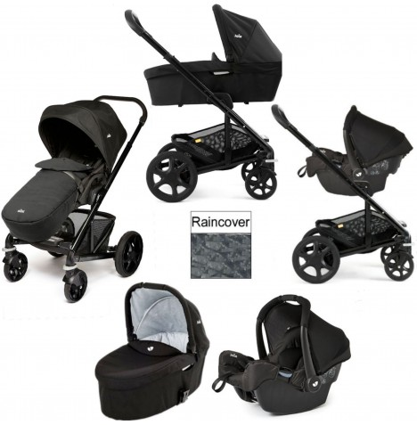 Joie Chrome Plus Black Frame Gemm Travel System & Carrycot - Black Carbon