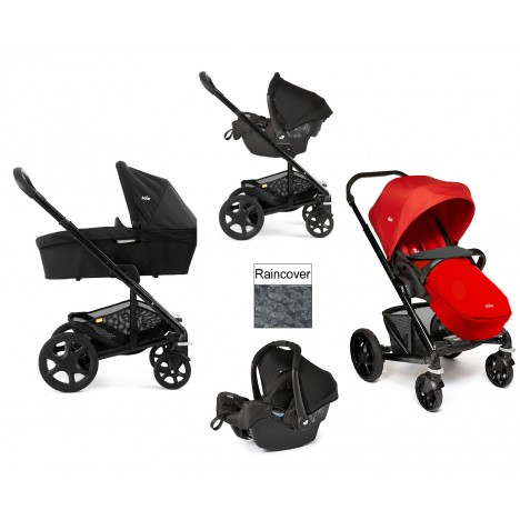 Joie Chrome Plus Black Frame Travel System & Carrycot - Tomato Red