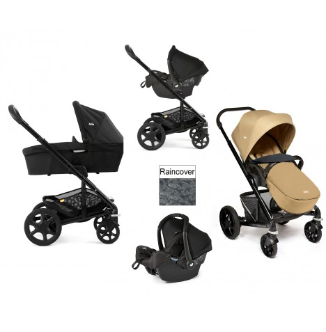 Joie Chrome Plus Black Frame Travel System & Carrycot - Sand
