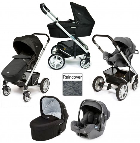 Joie Chrome Plus Silver Frame (i-Gemm) Travel System & Carrycot - Black Carbon