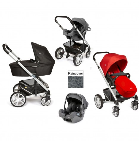 Joie Chrome Plus Silver Frame (i-Size) Travel System & Carrycot - Tomato Red