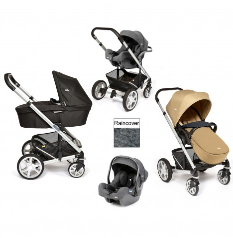 Joie Chrome Plus Silver Frame (i-Size) Travel System & Carrycot - Sand